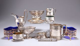A COLLECTION OF PLATED WARES, including an Old Sheffield Plate cream jug, a
