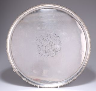 AN OLD SHEFFIELD PLATE SALVER, CIRCA 1790,?circular with beaded borders and