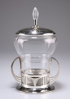 A GERMAN SECESSIONIST SILVER-PLATED AND GLASS BISCUIT BOX,?by?Wurttembergis