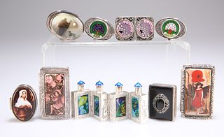 A SET OF CHINESE WHITE-METAL AND ENAMEL HINGED SCENT FLASKS, unmarked, 8.2c