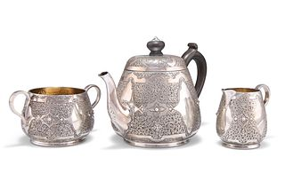 A VICTORIAN SILVER THREE-PIECE BACHELOR'S TEA SERVICE,?by?William Edwards,