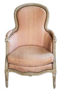 Louis XVI Grey Painted Bergere Armchair