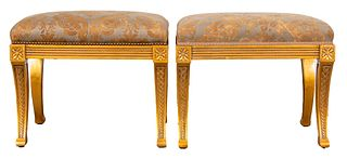 Neoclassical Style Giltwood Stools, Pair