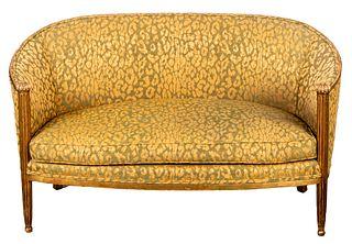 French Art Deco Giltwood Canape En Cabriolet Sofa