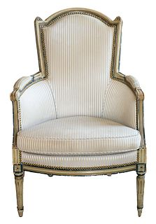 Louis XVI Grey And Blue Painted Bergere Armchair
