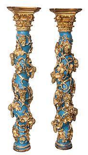 Continental Baroque Giltwood Solomonic Columns, Pr