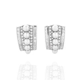 Diamond, Pearl and 18K Earrings