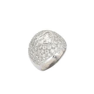 Diamond and 14K Heart Ring
