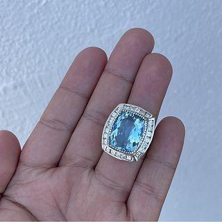 Aquamarine, Diamond and 18K Ring