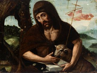 """Spanish school; late 16th century.  """"San Juan Bautista""""  Oil on panel. Crimped.  It presents faults, repainting and xylophagous remains."""