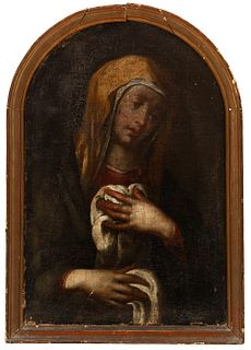 """Spanish school; 17th century, after models by QUENTIN METSYS (Belgium, ca. 1466 - 1530).  """"Virgin of Calvary"""",  Oil on canvas. Antique re-drawing.  It"""