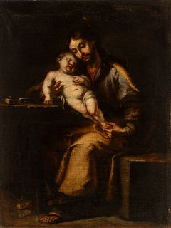 """PEDRO ANASTASIO BOCANEGRA (Granada, 1638 - 1689)  """"San José with Child"""".  Oil on canvas. Relined.  It presents repainting and air bubble in the re-ent"""