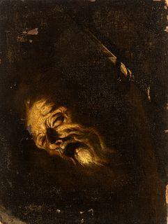 "SEBASTIÁN LLANOS VALDÉS (ca. 1605-1677).  ""Head of Saint Paul.  Oil on canvas. Re-retouched."