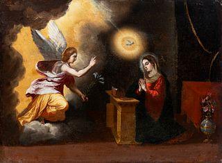 """Sevillian school, Circle of MATIAS DE ARTEAGA (Villanueva de los Infantes, Ciudad Real, 1633 - Seville, 1703); 17th century.  """"Virgin's annunciation""""."""