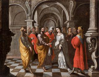 """MATÍAS DE ARTEAGA Y ALFARO (Villanueva de los Infantes, Ciudad Real, 1633 - Seville, 1703).  """"The Betrothal of the Virgin""""  Oil on canvas."""