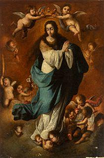 "Workshop of BARTOLOMÉ ESTEBAN MURILLO (Seville, 1617 - Cadiz, 1682).  ""Immaculate Conception"".  Oil on canvas. Re-tinted."