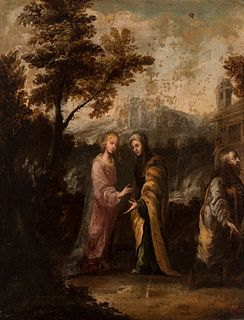 """Andalusian school; late 17th century.  """"Virgin's visitation"""".  Oil on canvas. Re-framed."""