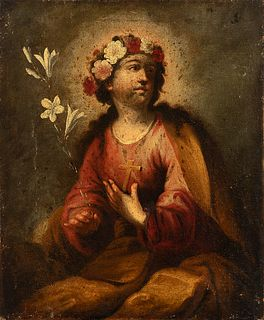"""Andalusian school; last third of the 17th century.  """"Santa Rosalia of Palermo"""".  Oil on canvas. Re-drawn."""