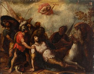 """Andalusian school; second half of the 17th century.  """"San Pablo's fall"""".  Oil on canvas. Re-retouched."""