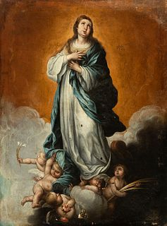 """School of BARTOLOME ESTABAN MURILLO; early 18th century.  """"Immaculate Conception"""".  Oil on canvas."""