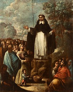 """Andalusian school; late 17th century.  """"Santo Domingo de Guzmán distributing bread among the needy"""".  Oil on panel.  It presents repainting and xyloph"""