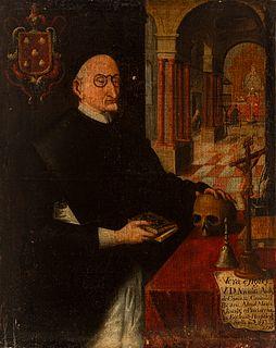 "Sevillian school; second third of the 18th century.  ""Portrait of the canon of Seville Cathedral, Don Nicolás Antonio de Cominco"".  Oil on canvas. Re-"