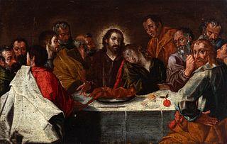 "Cordovan school; 17th century.  ""Last Supper"".  Oil on pine panel."