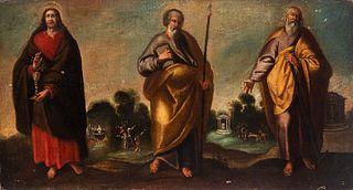 "Spanish school; second third of the 17th century.  ""San Juan, San Pablo, and San Simón"".  Oil on canvas. Re-tinted."
