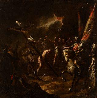 "Workshop of ANTONIO DEL CASTILLO Y SAAVEDRA (Cordoba, 1616 - 1668).  ""The Elevation of the Cross"".  Oil on canvas. Relined."
