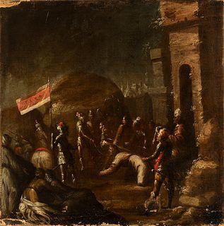 "Workshop of ANTONIO DEL CASTILLO Y SAAVEDRA (Cordoba, 1616 - 1668).  ""Fallen on the Road to Calvary"".  Oil on canvas. Relined."