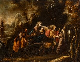 """Cordovan school; late 17th century.  """"Flight into Egypt"""".  Oil on canvas. Re-retouched."""
