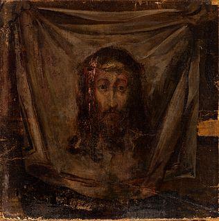 "Spanish school, follower of EL GRECO DOMENIKOS THEOTOKOPOULOS (Candia, Greece, 1541 - Toledo, 1614); 17th century.  ""The Veil of Veronica"".  Oil on ca"