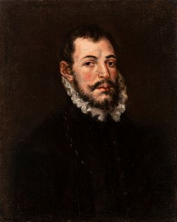 "Spanish school; Circle of LUIS TRISTAN (Toledo?, 1580/85 - Toledo, 1624); first third of the 17th century.  ""Portrait of a gentleman.  Oil on canvas."