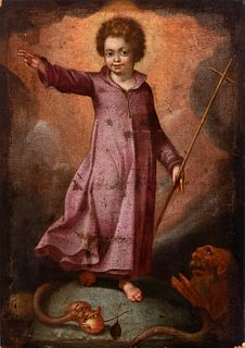 """Spanish school; early 17th century.  """"Infant Jesus triumphing over evil"""".  Oil on canvas. Re-drawn."""