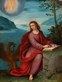"""Flemish school; first half of the 17th century.  """"Saint John writing the apocalypse on the island of Patmos"""".  Oil on copper."""