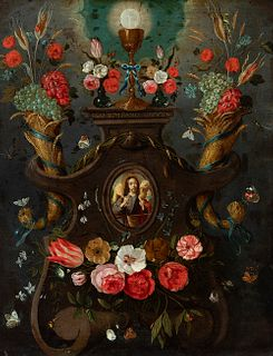 """Flemish school of the 17th century.  """"Orla de flores, con alegoría de la Eucaristía"""" (Flower border, with allegory of the Eucharist).  Oil on copper."""