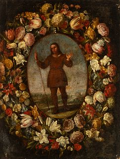 """Madrid school; first half of the 17th century.  """"Orla con flores con San Isidro"""".  Oil on canvas. Relining."""