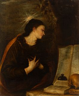 """Circle of MATEO CEREZO (Burgos, 1637-Madrid, 1666). """"Penitent Magdalene"""". Oil on canvas. Relining. It presents repainting and restorations."""