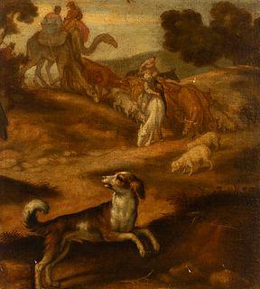 "PEDRO DE ORRENTE, (Murcia, 1580 - Valencia, 1645).  ""Scene from the Old Testament"".  Oil on canvas. Relining.  It presents restorations."