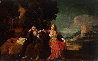 "Spanish school; first half of the 17th century.  ""San Antonio Abad temptations"".  Oil on canvas. Relining."