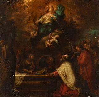 """Spanish school; 17th century.  """"Asunción de la Virgen""""  Oil on canvas. Relined."""