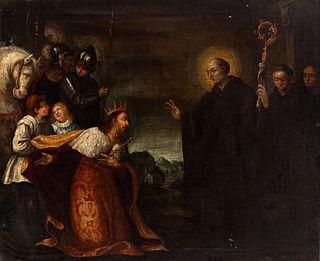 """Italian school; 17th century.  """"San Benito y Totila"""".  Oil on canvas. Re-coloured."""