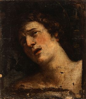 "Circle of JERÓNIMO JACINTO ESPINOSA (Cocentaina, Alicante, 1600-Valencia, 1667). ""Bust of Saint Sebastian"". Oil on canvas. Relined."