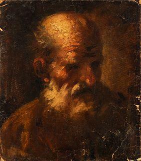 """Italian school; 19th century. """"Saint Jerome"""". Oil on canvas. Relined."""