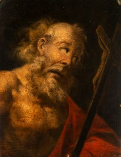 """Andalusian school; second half of the 17th century. """"Saint Jerome"""". Oil on canvas. Relined"""