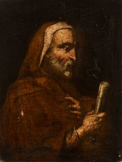 """Spanish school; 17th century. """"Philosopher or prophet"""". Oil on canvas. Relined."""
