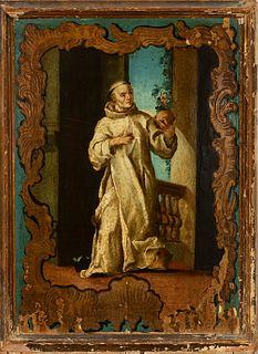 "Novo-Hispanic school; first half of the 18th century. ""Saint Bruno"". Oil on panel. Stencilled."