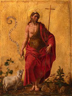 "Italian school; ca. 1600. ""San Juan Bautista"". Oil on gilded bronze."