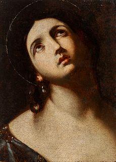 """Circle of GUIDO RENI (Calvenzano di Vergato, Bologna, 1575 - Bologna, 1642). """"Saint"""". Oil on canvas. Relined"""