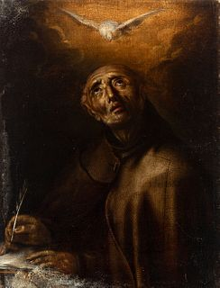 "Spanish school; late 17th century. ""San Pedro de Alcantara"". Oil on canvas. Relined."